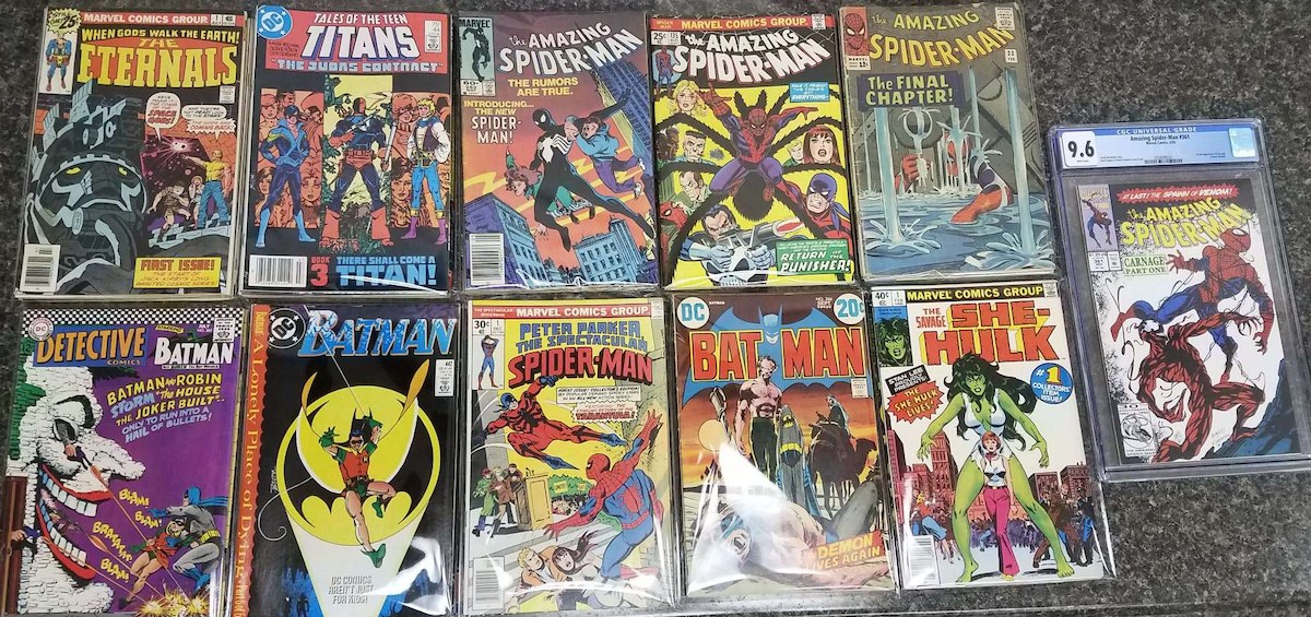 The Chance Element in the Mystery Comic Book Bags! 1 in 10 chance of a minor key, 1 in 100 chance of Amazing Spider-Man361 CGC 9.6, 1st Carnage!