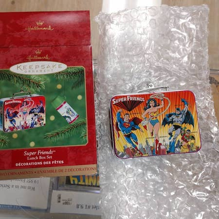 Vintage Hallmark Super Hero Christmas Ornaments: Super Friends with miniature lunchbox!