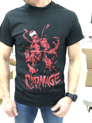 Marvel Comics T-shirts: Carnage, in-store at DotCom Comics and Collectibles, 136 Main Street, Portland, ME, 04032