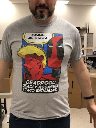 Marvel Comics T-shirts: Deadpool Taco Enthusiast, in-store at DotCom Comics and Collectibles, 136 Main Street, Portland, ME, 04032
