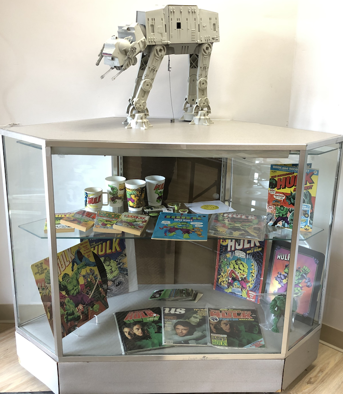 The shrine to vintage Incredible Hulk collectibles at DotCom Comics, guarded by our in-store AT-AT security!